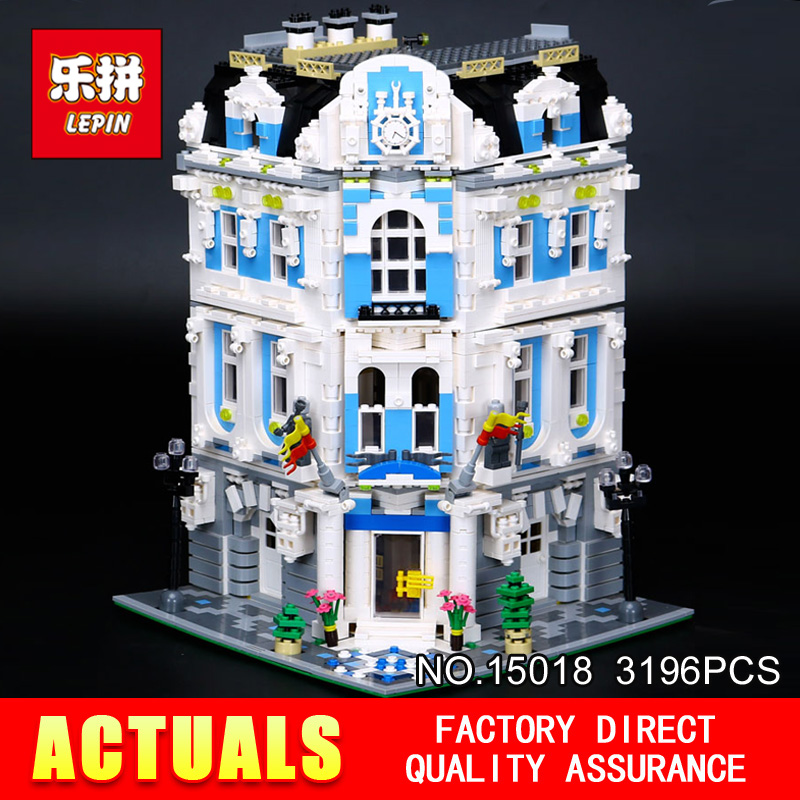 LEPIN 15018 3196pcs Creator City Series Sunshine hotel MOC Model Building Kits  Brick Toy Compatible Christmas gifts laete 15018