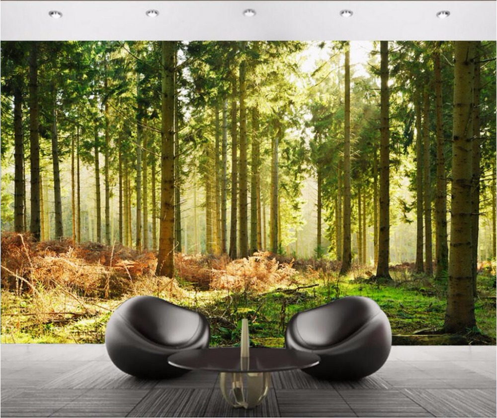 Custom photo 3d wallpaper Forest tree background wall decor painting 3d wall mural wallpaper for living room walls 3 d custom photo 3d wall murals wallpaper mountain waterfalls water decor painting picture wallpapers for walls 3 d living room