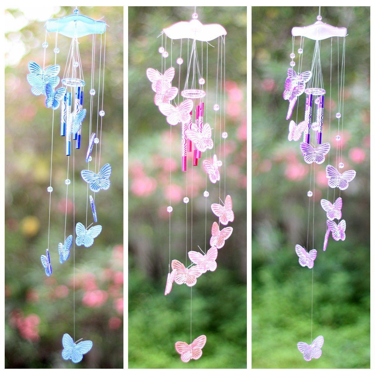 Purple Crystal Butterfly Wind Chime Bell Ornament Yard Hanging Decor Art