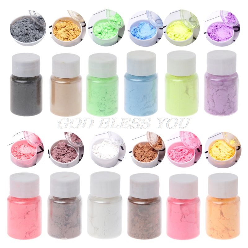 12 Color Pearlescent Mica Pigment Powder Rainbow UV Resin Epoxy Craft DIY Jewelry Making Handmade Soap Coloring Powder
