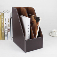 2 slot wooden leather desktop file book stand box magazine rack holder documents magazine paper filing organizer tray brown 221B