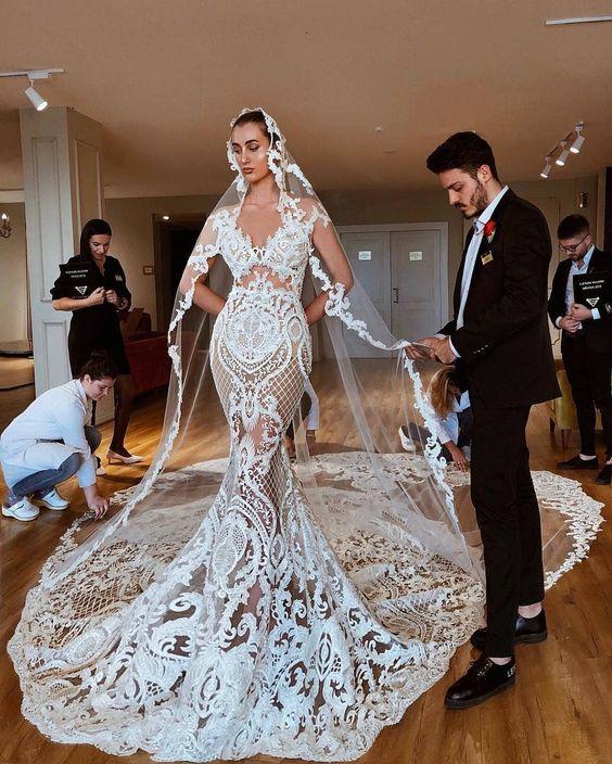 8cc84913d 2019 Eslieb profundo sin mangas gelinlik vestido de boda menyasszonyi ruha  velo de Apliques de ...