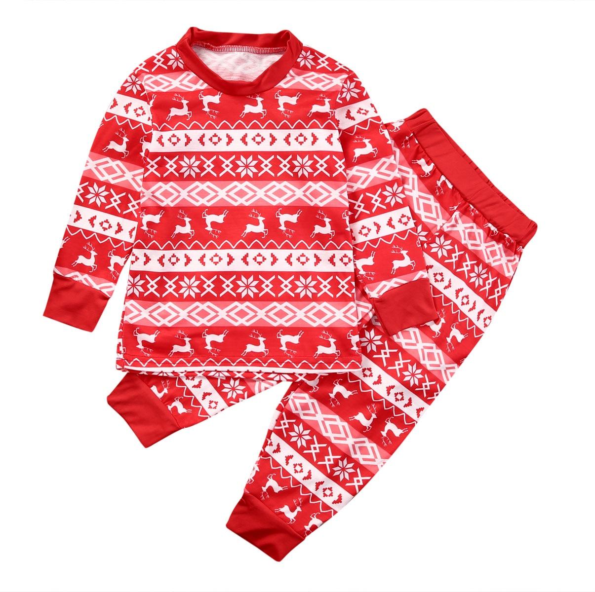 8bb9c5dec3c5 Новогодние товары детская одежда для маленьких мальчиков и девочек комплект олень  пижама ночная рубашка; одежда для сна с длинным рукавом Футболка +штаны, ...