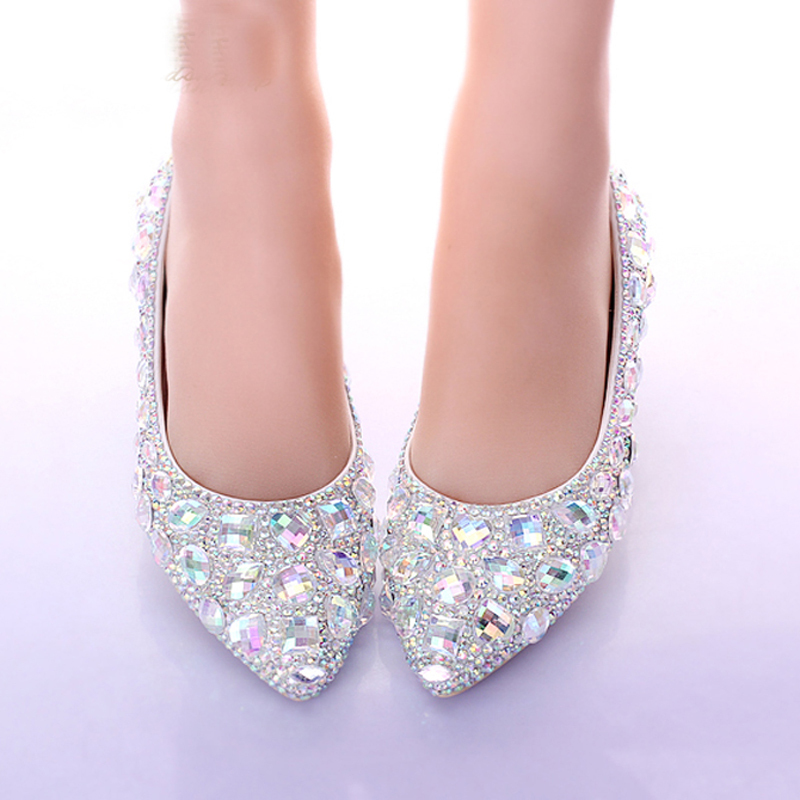 Flat Heels Pointed Toe AB Crystal Wedding Shoes Silver Dancing Flats ...