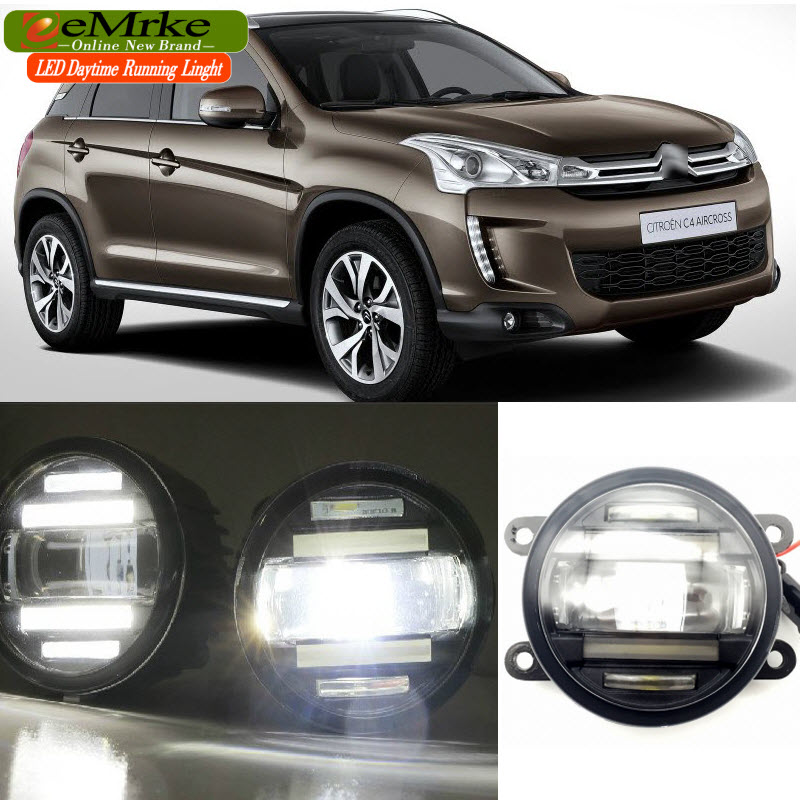 EEMRKE Car Styling for Citroen C4 Aircross 13 14 15 16 2 in 1 Multifunction LED Fog Lights DRL With Lens Daytime Running Lights eemrke car styling for opel zafira opc 2005 2011 2 in 1 led fog light lamp drl with lens daytime running lights