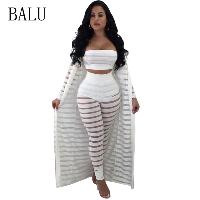 7004b4ca6304 BALU 3 Piece Set Jumpsuit Sexy See Through Mesh Rompers Womens Jumpsuit  Long Sleeve Crop Top Night Club Party Bodycon Jumpsuits
