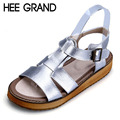 HEE GRAND Silver Gladiator Sandals Summer Platform Flip Flops Genuine Leather Creepers Shoes Woman Flats Size 35-43 XWZ2133
