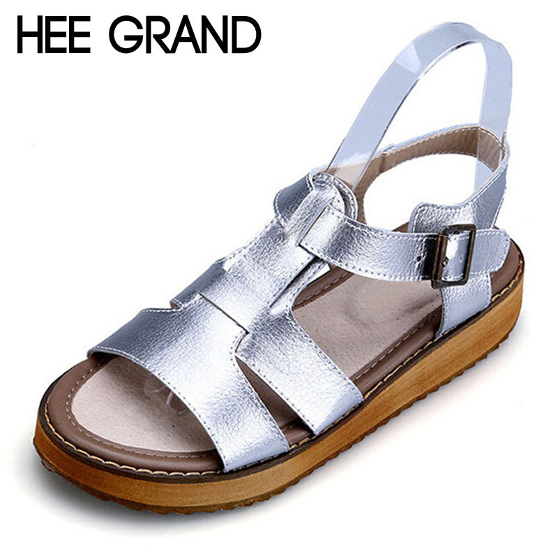 HEE GRAND Silver Gladiator Sandals Summer Platform Flip Flops Split Leather Creepers Shoes Woman Flats Size 35-43 XWZ2133 timetang 2017 leather gladiator sandals comfort creepers platform casual shoes woman summer style mother women shoes xwd5583