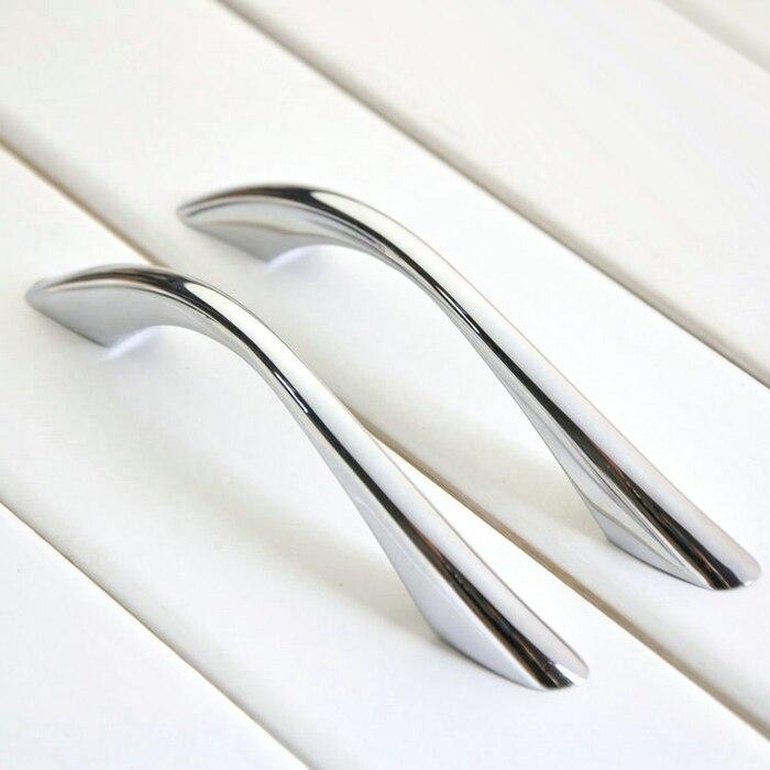 shine Silver modern furniture handle Chrome Drawer Pulls Cabinet Cupboard Wardrobe Knobs Zinc alloy 96mm