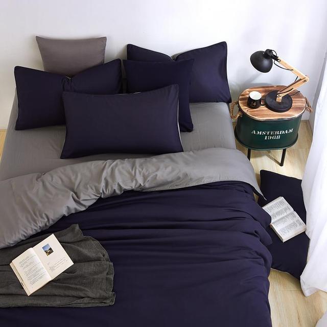 Conjunto de cama minimalista, jogo de cama de tinta azul e com fronha, fronha cinza, confortável e macia, queen, para o verão completo