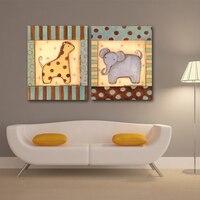 חיות מצוירות סיטונאיים בד הדפסי ציור קיר תמונות תינוק צבי פיל דקור חדר ילדים לילדים ללא מסגרת