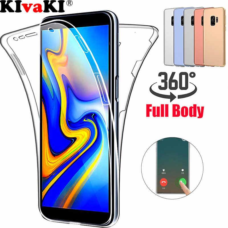 360 Tam Yumuşak Silikon TPU samsung kılıfı Galaxy S9 S8 Artı S6 S7 Kenar J5 J4 J6 A6 A8 A30 A40 a50 A60 M20 M30 2018 A5 2017 Kılıf