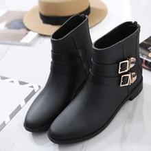 Новинка 2017 модные женские туфли Короткие полусапожки непромокаемые сапоги пряжки Англии Резиновые Нескользящие резиновые галоши