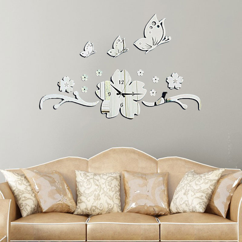 new butterfly flower 3d diy wall clock modern design acrylic mirror wall decal art stickers for - Wall Decals Designs