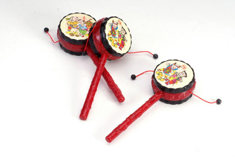 1PCs Hammer Toys Red Rattled-Drums Sets Baby Drum Hammer Rattle Children Kids Voice Toys For Fun China Tranditonal Toys