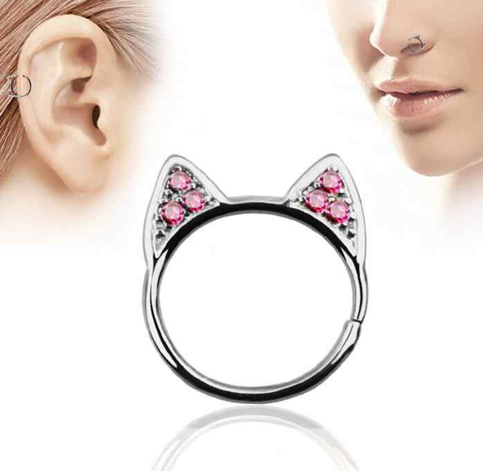 980028d67 New crystal fake cat ear nose ring silver plated round septum Piercing  clicker faux clip non