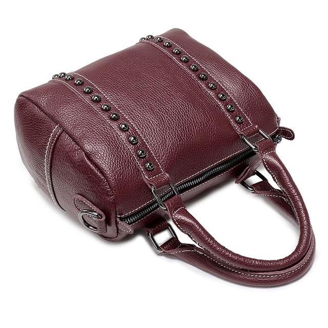 Nuleez Rivet Cross-body Bag Women Genuine Leather Handbag cool Boston elegant Ladies Shoulder Bag Women Messenger Bag New 1221