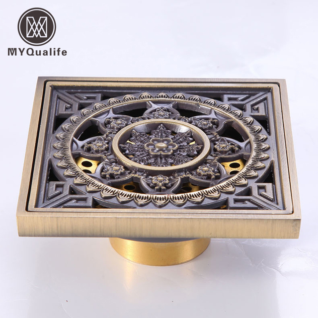 Carved Art Carved Anti-odor Floor Drain Antique Brass Shower Waste Drain Basement Floor Drain & Carved Art Carved Anti odor Floor Drain Antique Brass Shower Waste ...