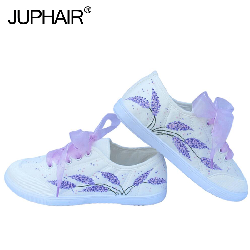 JUP Women Girl Lavender Design Hand Painted Flat Shoes Canvas Casual Shoe Design High To ...