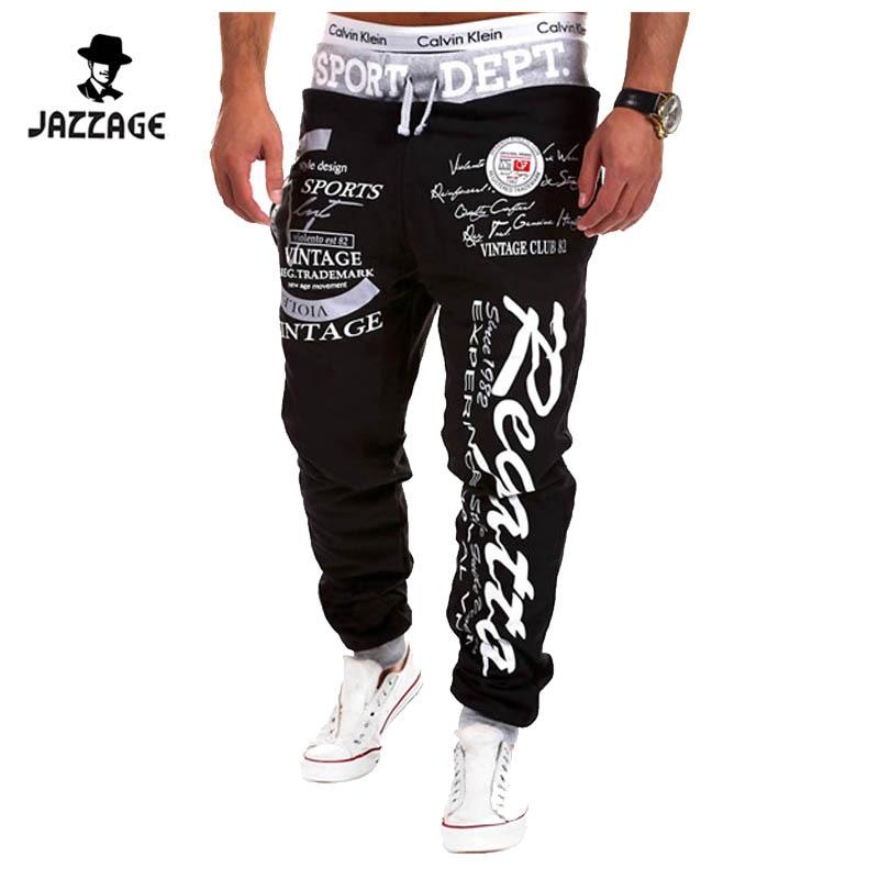 Corredores dos homens Pantalon 2018 Masculino Calças Dos Homens Da Marca Carta Hit Impressão Sweatpants Jogger Calças pretas XXL 5 cores