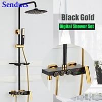 Senducs Interlligent Black Gold Shower Set Temperature Digital Bathroom Shower System Bath Black Thermostatic Shower Series