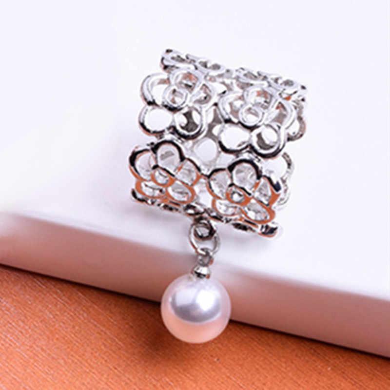 Fashion Hollow Rose Bros Syal Tabung Syal Gesper Pin Klip untuk Wanita Fashion Disimulasikan Mutiara Perhiasan Aksesoris