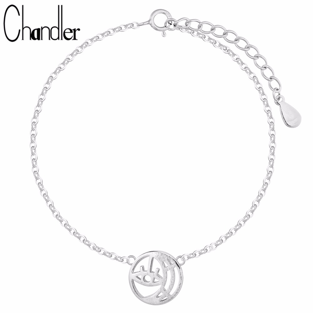 Chandler Authentic 925 Sterling Silver Evil Eye Crescent Moon Bacelet Round Hollow Charm Bangles Statement Classic Accessaries
