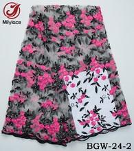 Nytt kommer afrikanskt 3d blomma nätet spets tyg med charmiga rhinestones heta sälja 3d blomma franska spets för kvinna klänning BGW-24