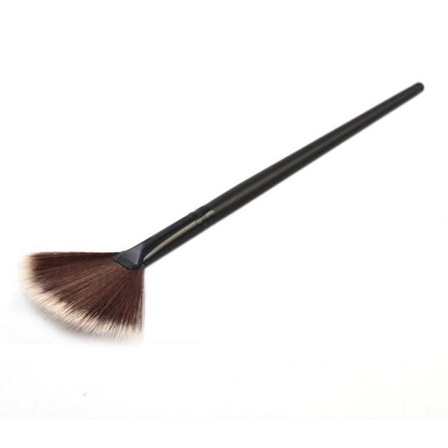 Maquillaje pinceles/brochas conjunto profesional con cabello natural cepillo del ventilador portátil Slim 1 piezas negro belleza peine tarro de maquiagem profissional #7
