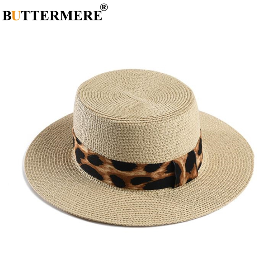 BUTTERMERE Wide Brim Boater Hat For Women Sun Hat Leopard Ladies Straw Jazz Hat Female Fashion 2019 Spring Summer Panama Hat in Women 39 s Sun Hats from Apparel Accessories