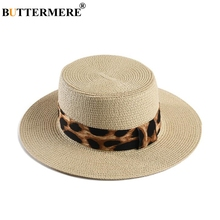 BUTTERMERE Wide Brim Boater Hat For Women Sun Leopard Ladies Straw Jazz Female Fashion 2019 Spring Summer Panama