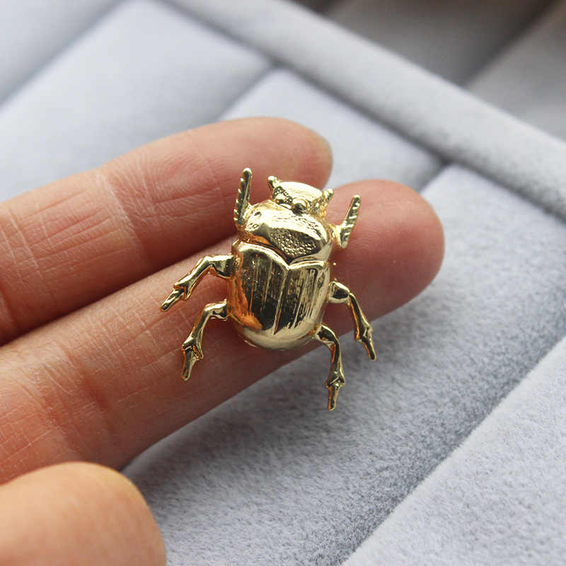 Stag-beetle Brooch Silver Insect Jewelry Botanical Gift For Ladies Pin For Dress