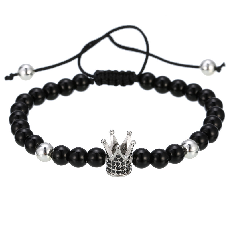 Classic Fashion CZ Crown Charm Bracelet 6mm Black Matte Stone Lover Braiding Bracelet For Women Mens Pulseras Masculina Gifts in Charm Bracelets from Jewelry Accessories