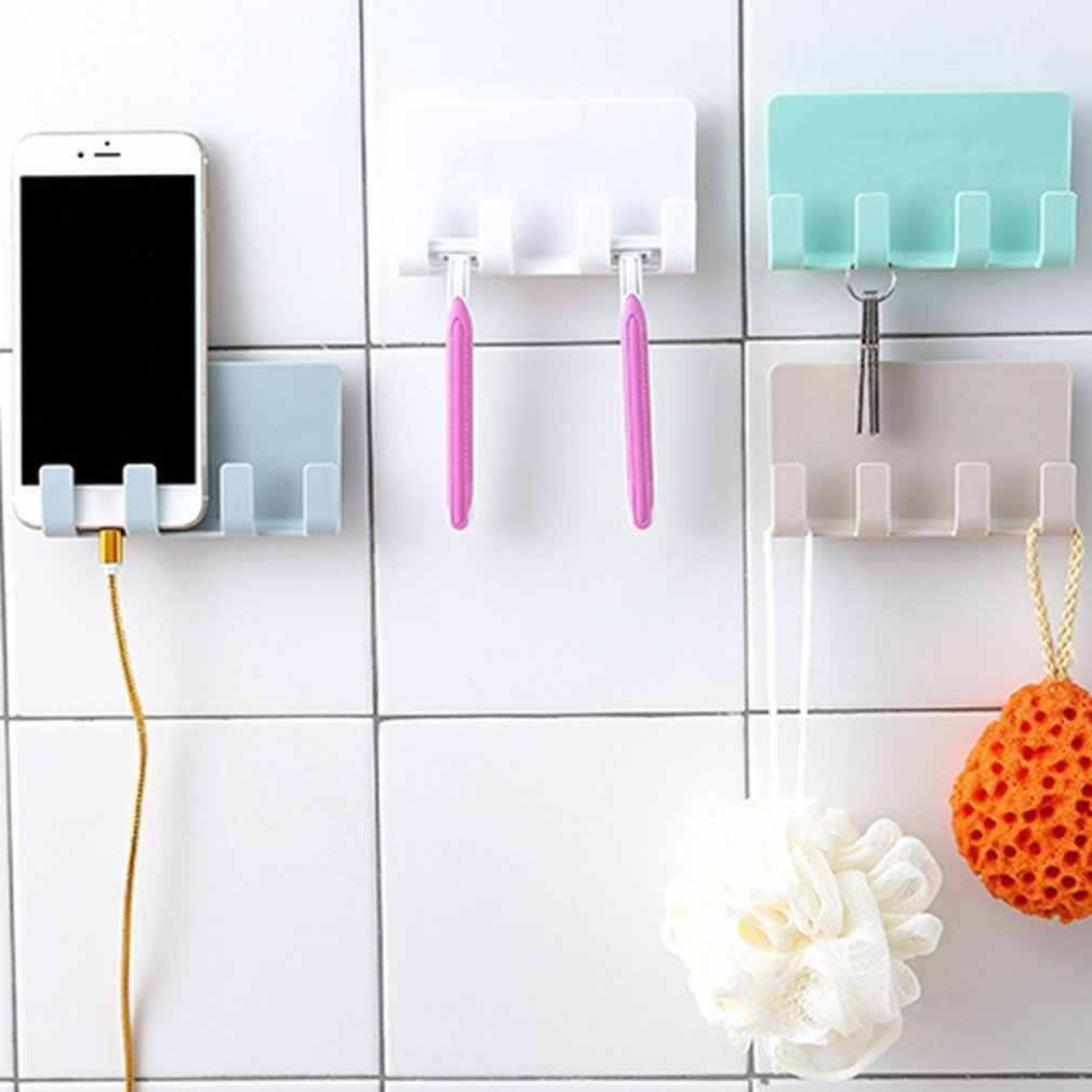لصق الإبداعية عمود شحن الهاتف المحمول موبايل هاتف لوحي عمود شحن الجدار دون أثر 4 هوك تخزين الرف