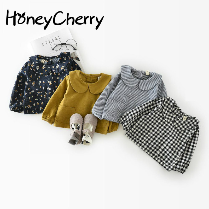 цены Korean Autumn Cotton Leaf Collar 0-1-2 Years Old Baby Jacket Girl Plaid Shirt Children Girl Top Blouse Girls School Blouses