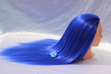 Female Mannequin Dummy Head with Blue Hair Hairdressing Styling Makeup