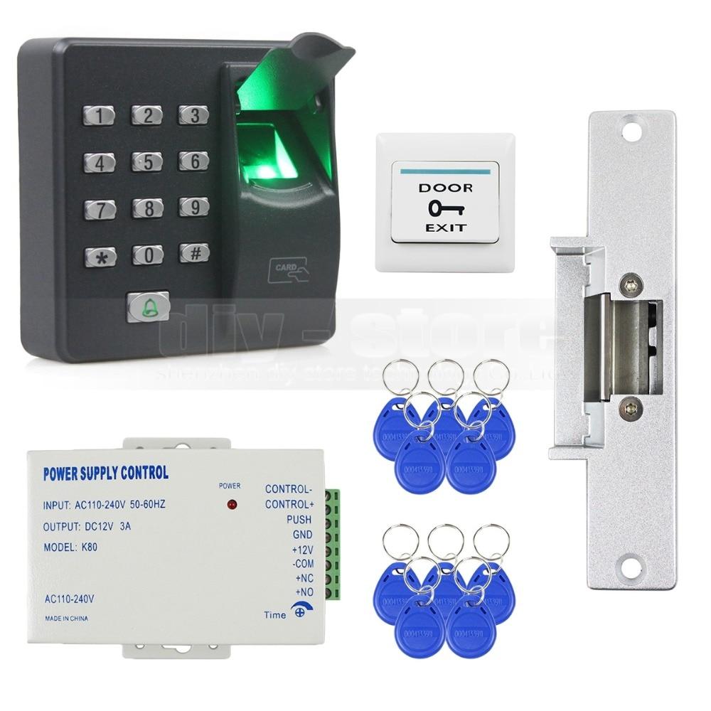 DIYSECUR Biometric Fingerprint RFID 125KHz Password Keypad Door Access Control System Kit + Strike Lock diysecur lcd fingerprint id card reader password keypad door access control system kit strike lock for office house