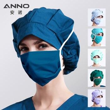 ANNO Plain Colour Bouffant Surgical Cap with Mask Cotton Nurse Hats Women Disposable Pharmacy Hospital Medical Caps Head Wear