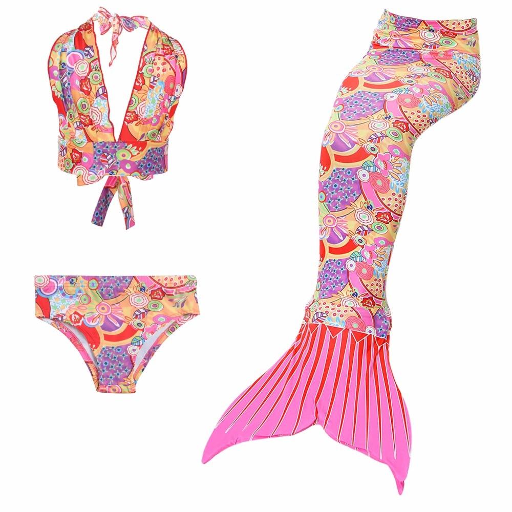 2018 fashion new Mermaid 3pcs Girls Children Mermaid Tail Swimming Suit Dress Summer Swimming Split Swimsuit Dress free shipping