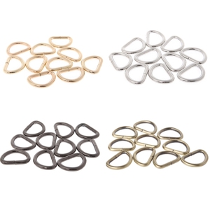 THINKTHENDO 10pcs 12/15/2/25/32/38mm Strap Buckle Inner Width Metal Half Round Shaped Non Welded D Ring DIY Bag Accessories