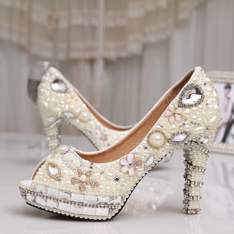 fc309ecf8fc81 Fashion 4 Inches Heel Ivory Pearl Dress Shoes Peep Toe Women Rhinestone  Bridal Shoes Wedding High Heel Shoes Party Prom Shoes