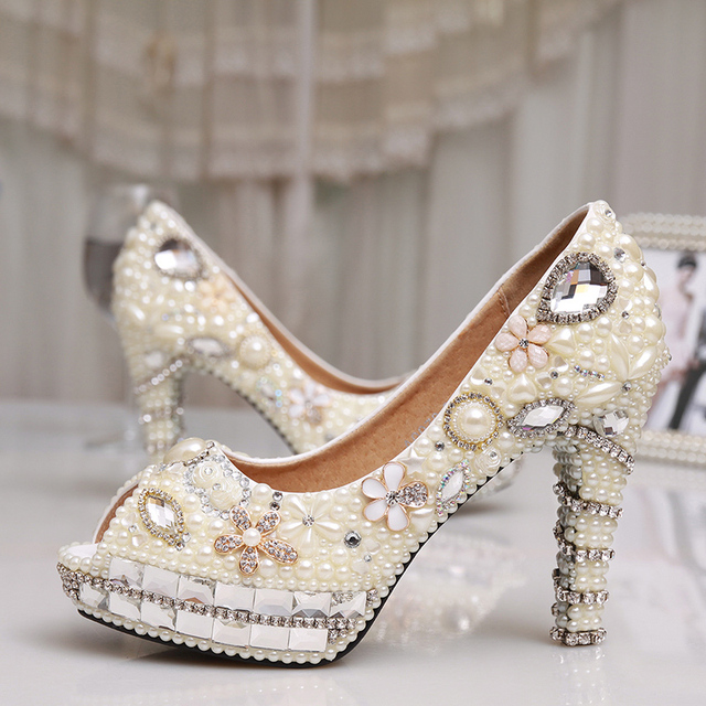 Fashion 4 Inches Heel Ivory Pearl Dress Shoes Peep Toe Women Rhinestone  Bridal Shoes Wedding High Heel Shoes Party Prom Shoes a8fcefe7c185