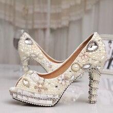 Fashion 4 Inches Heel Ivory Pearl Dress Shoes Peep Toe Women Rhinestone Bridal Shoes Wedding High Heel Shoes Party Prom Shoes