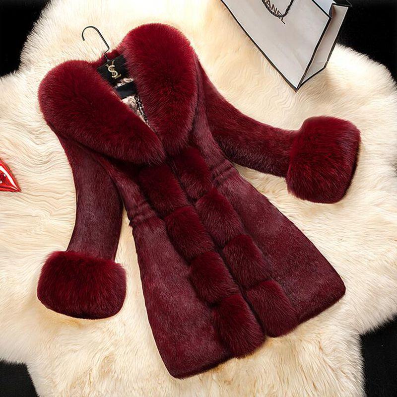 Br 2020 New Autumn Winter Women Faux Fur Coat Jacket Slim Fur Collar Women Warm Fur Coat Female Plus Size 5XL Winter Coat Woman