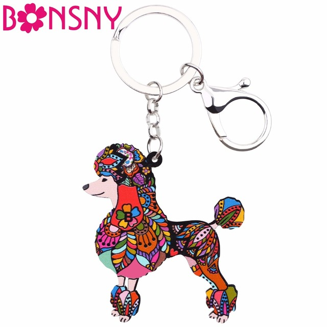 Bonsny Acrylic Pattern Poodles Dog Key Chain Ring Women Handbag Charm 2017 New Fashion Jewelry Car Accessories