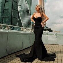 2017 Sexy Strapless V Neck Padded Mermaid Dress Long Split Bodycon Draped Backless Red Black Elegant Floor Length Dress