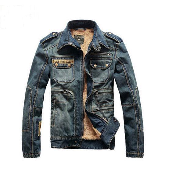 ФОТО 2014 Men'S Winter Denim Coat Thick Turn-Down Collar Cotton Coat Retro Cotton Coat Thick Velvet Padded Denim Jackets A1418
