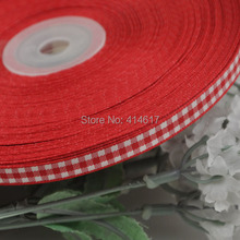 2/8″ 6mm Red Color tartan plaid ribbon bows appliques craft/sewing/doll Lots U pick 50Yard