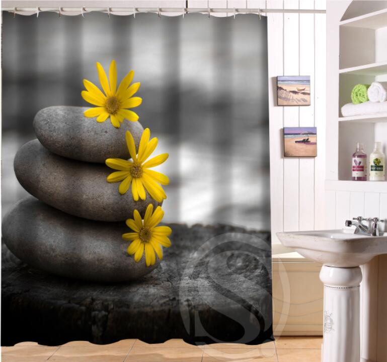 NEW HOT Custom Beautiful Zen Stone Shower Curtain 100 Polyester Bath For Home Decor