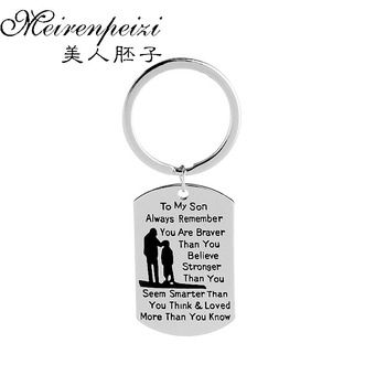 Personalized Key Chains You Are Braver Than You Believe Stronger Than You Seem Motivational Stamped Dog Tags Keychain Jewelry image